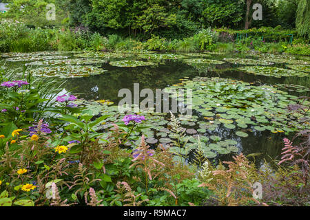 View of the garden in Giverny, France , where Claude Monet lived and created for long years - Stock Photo