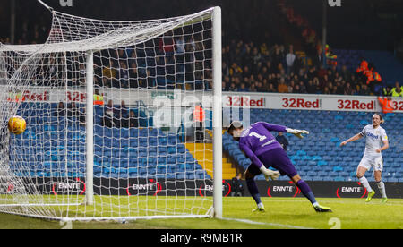 Blackburn Rovers goalkeeper David Raya looks back as the ball hits the net after a own goal by Blackburn Rovers' Derrick Williams (not in picture) during the Sky Bet Championship match at Elland Road, Leeds. - Stock Photo