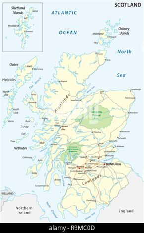 Road Map Of England And Scotland.High Detailed Scotland Road Map With Labeling Stock Vector Art