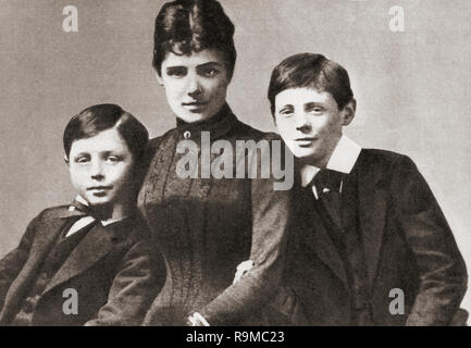 John Churchill, left, with his mother Jennie and his brother Winston, seen here as children in 1889.  Major John Strange Spencer-Churchill, 1880 – 1947, aka Jack Churchill.  Jennie Spencer-Churchill, 1854 –1921, aka Lady Randolph Churchill. Sir Winston Leonard Spencer-Churchill, 1874 –1965. British politician, statesman, army officer, and writer, who was Prime Minister of the United Kingdom from 1940 to 1945 and again from 1951 to 1955. - Stock Photo