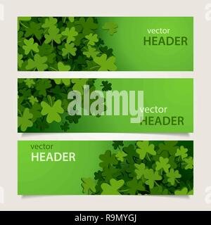 Set of green headers with clover leaves and banners for St. Patrick's Day, vector illustration - Stock Photo