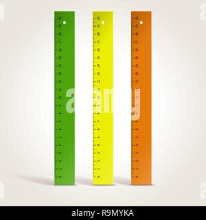 Set of colorful school rulers isolated on white, vector illustration - Stock Photo