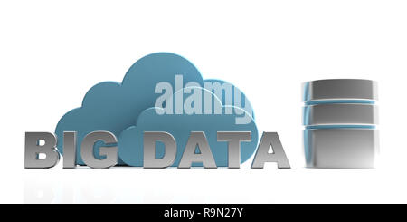 Big Data, internet of things concept. Big data text and  blue clouds isolated on white background. 3d illustration - Stock Photo