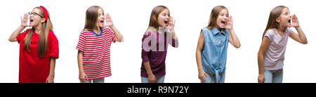 Collage of young beautiful little girl kid over isolated background shouting and screaming loud to side with hand on mouth. Communication concept. - Stock Photo