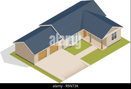 Vector isometric suburban house with double garage - illustration on white - Stock Photo