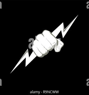 The fist squeezing a lightning. The vector illustration symbolizing force, the power. A logo, a sign for the power companies, fight club. Design eleme - Stock Photo