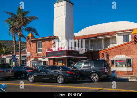 Laguna Beach, California - October 9, 2018: The iconic marquee of the now closed Laguna South Coast Cinemas as sean on this date - Stock Photo