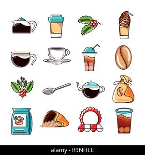 set icons of coffee and kitchen tools vector illustration design - Stock Photo