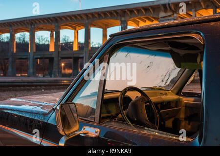 Vintage truck with window open in the West Bottoms at dawn - Stock Photo