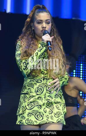 Acts performing at Hits Radio Live 2018 at Manchester Arena, Manchester, UK on 25th November 2018  Featuring: Mabel Where: Manchester, United Kingdom When: 25 Nov 2018 Credit: Graham Finney/WENN - Stock Photo