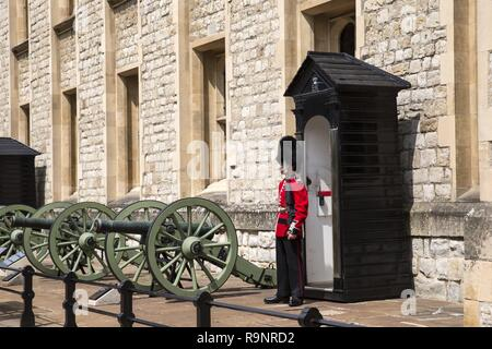 London, England – July 22, 2016: The guards at Tower of London which is one of the world's most famous fortresses and has seen service as royal palace - Stock Photo