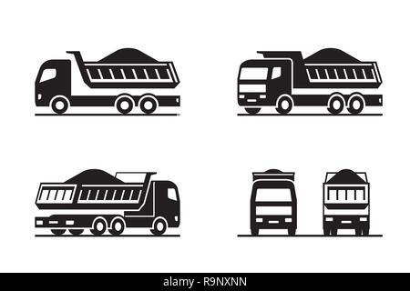 Dump truck in different perspective - vector illustration - Stock Photo