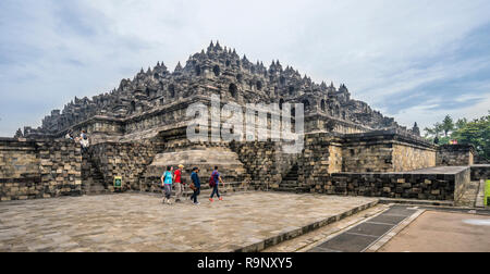 view of the mandala step pyramid that forms 9th century Borobudur Buddhist temple, Central Java, Indonesia - Stock Photo