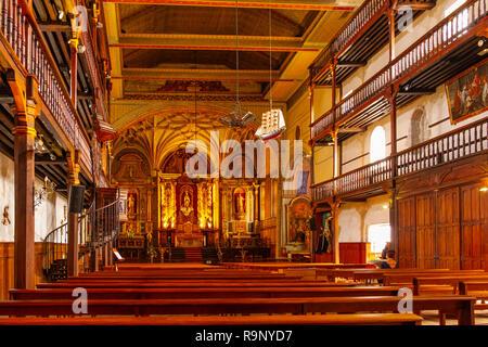 Church eglise Saint Vincent. Basque Country. Urrugne, Pyrénées-Atlantiques department, Aquitaine region. South Western France. - Stock Photo