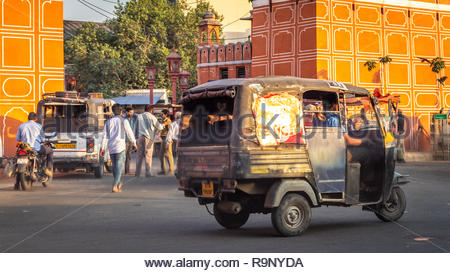 Heavy traffic in the streets of Jaipur in India - Stock Photo
