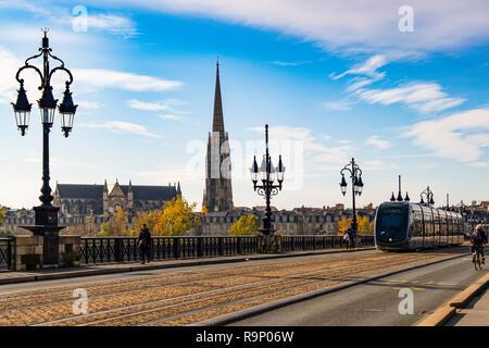 Tram line on Pont de Pierre. Stone Bridge over Garonne River. Bordeaux, Gironde. Aquitaine region. France Europe - Stock Photo