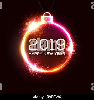 2019 new year concept with colorful neon lights retro design elements for presentations flyers leaflets posters or postcards color greeting card template shining neon glowing vector illustration r9p0w6