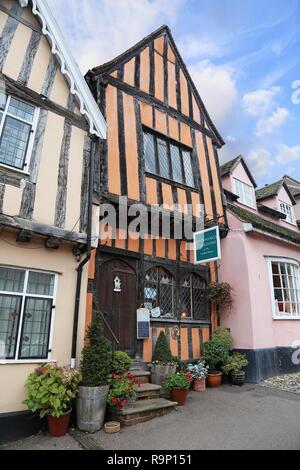 Munnings Tea Rooms, Crooked House, High Street, Lavenham, Babergh district, Suffolk, East Anglia, England, Great Britain, United Kingdom, UK, Europe - Stock Photo