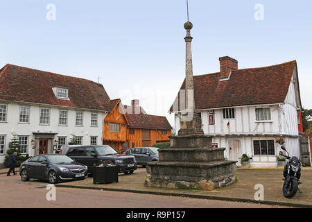 Great House Hotel and Market Cross, Market Place, Lavenham, Babergh district, Suffolk, East Anglia, England, Great Britain, United Kingdom, UK, Europe - Stock Photo