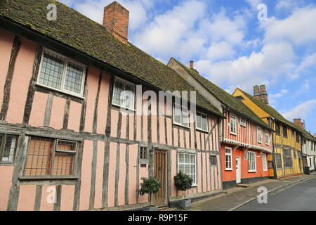 Half-timbered houses in Water Street, Lavenham, Babergh district, Suffolk, East Anglia, England, Great Britain, United Kingdom, UK, Europe - Stock Photo