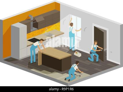 Home repair, renovation interior. Builders people work in a team, isometric vector illustration - Stock Photo