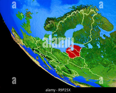 Baltic States on realistic model of planet Earth with country borders and very detailed planet surface. 3D illustration. Elements of this image furnis - Stock Photo