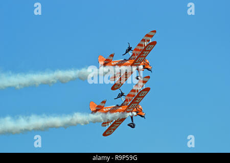 Breitling Wing Walkers at Eastbourne Airbourne Air Show, East Sussex, England, UK - Stock Photo