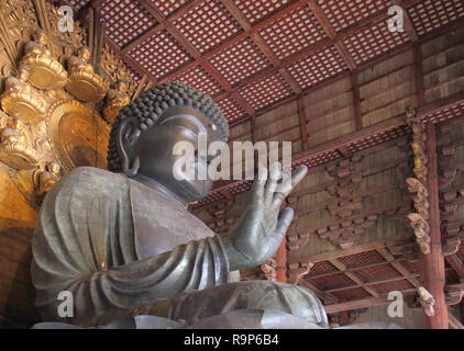 the great buddha in todaiji temple in the old japanese capital of nara japan - Stock Photo