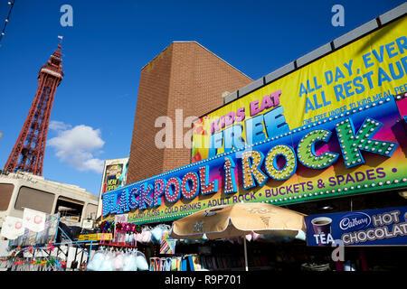 Blackpool  Lancashire, seafront waterfront promenade seaside resort on the Irish Sea coast of England,  Blackpool Rock amusements - Stock Photo