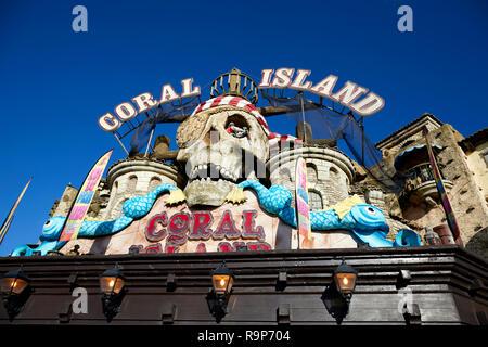 Blackpool  Lancashire, seafront waterfront promenade seaside resort on the Irish Sea coast of England,  Coral Island amusements - Stock Photo