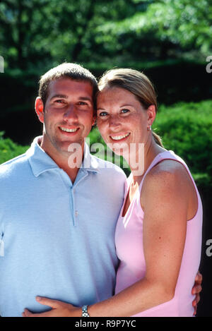 20s Couple Smiling on a Summer Day, USA - Stock Photo