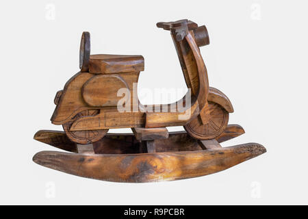 Motorbike rocking wooden isolate on white background with clipping path. - Stock Photo