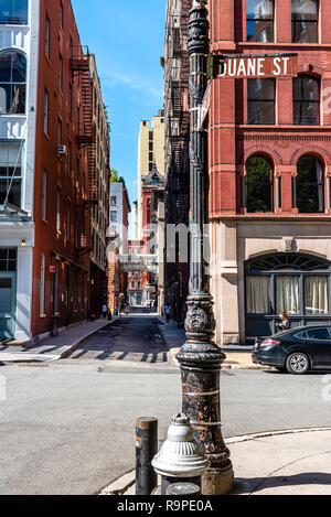 New York City, USA - June 25, 2018: Scenic view of Staple Street in Tribeca. This alley runs two blocks north between Duane and Harrison Streets, just - Stock Photo