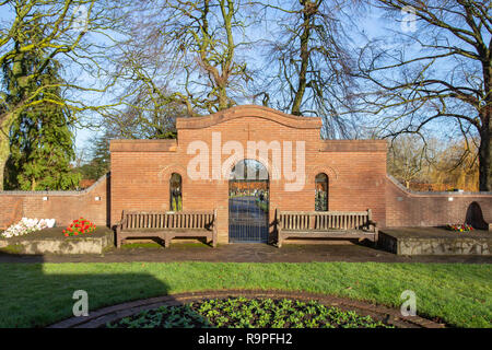Entrance to floral court at Crewe cemetery, Crewe Cheshire UK - Stock Photo