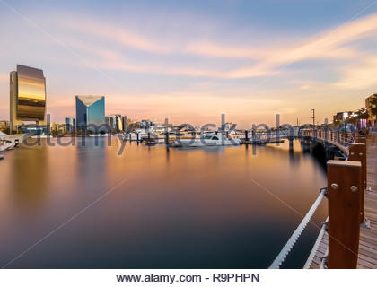 View of Dubai Creek in Old Dubai from Al Seef Area. - Stock Photo