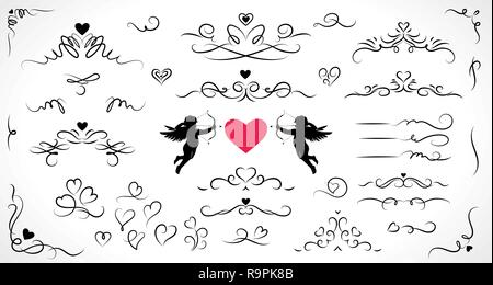 Collection of flourish elements for wedding and Valentine's day decorations. - Stock Photo