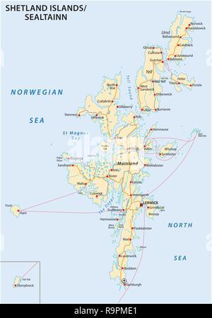 shetland islands road map, Scotland, United Kingdom - Stock Photo
