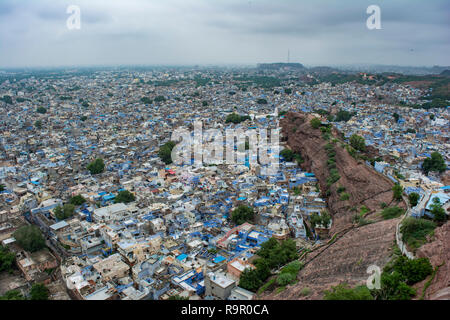 View of Jodhpur from the top of Mehrangarh Fort. - Stock Photo