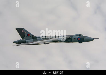 Ex RAF Avro Vulcan B.2 bomber XH558 (The Spirit of Great Britain) flying over Popham Airfield, Hampshire, UK on 11/10/15 during it's farewell flight. - Stock Photo