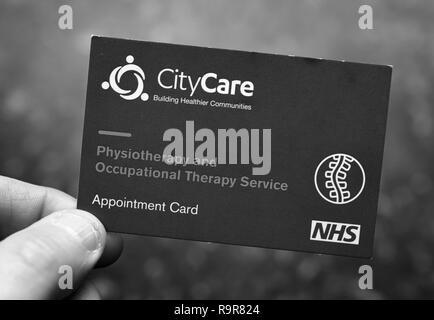 Appointment card for physiotherapy - Stock Photo