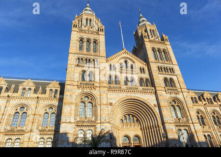 Exterior of the iconic Alfred Waterhouse Building, Natural History Museum, Cromwell Road, South Kensington, London SW7, a leading tourist attraction - Stock Photo