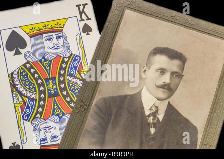 RUSSIA - CIRCA 1905-1910: A portrait of young man, Vintage Carte de Viste Edwardian era photo and playing card - Stock Photo