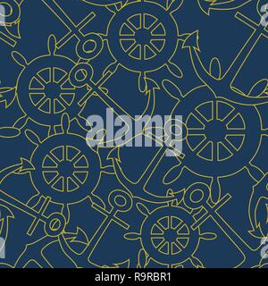 Wheels and anchors on navy blue background vector seamless pattern. - Stock Photo