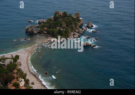 Isola Bella island at Taormina, Sicily, Italy - Stock Photo