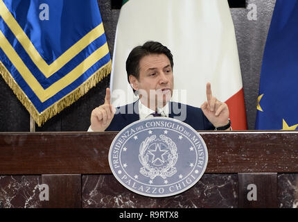 Rome, Italy. 28th Dec, 2018. Roma (Italy) Politic End of year Press Conference by Prime Minister Giuseppe Conte  In the pic Giuseppe Conte Credit: LaPresse/Alamy Live News - Stock Photo