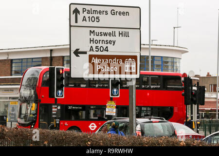Turnpike Lane, North London, UK. 28th Dec, 2018. A London bus driver was injured after gunshots were fired outside a Turnpike Lane tube station in North London. The 221 bus driver, aged in his 50s, suffered a cut to his forehead from flying glass just after midnight. Credit: Dinendra Haria/Alamy Live News - Stock Photo