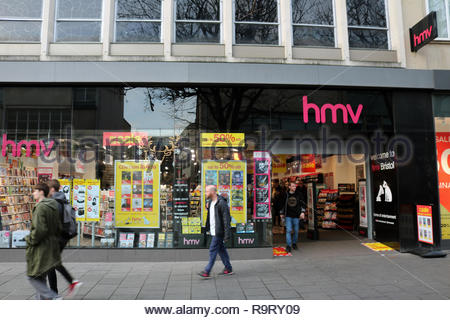 HMV, Broadmead Shopping Centre, Bristol, UK. 28th December 2018. High street music retailer HMV with Sale signs in the window of the Bristol Broadmead Store following news that the chain is in the process of appointing administrators KPMG following poor Christmas Sales. Credit:Joseph Landers/Alamy Live News - Stock Photo