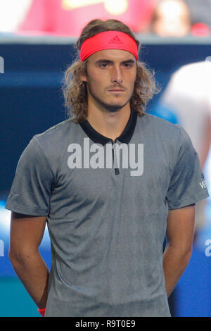 RAC Arena, Perth, Australia. 29th Dec, 2018. Hopman Cup Tennis, sponsored by Mastercard; Stefanos Tsitsipas of Team Greece looks on during his Nations National Anthem Credit: Action Plus Sports/Alamy Live News