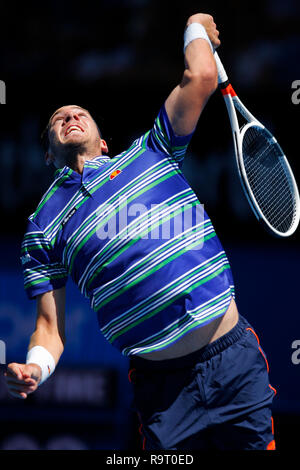 RAC Arena, Perth, Australia. 29th Dec, 2018. Hopman Cup Tennis, sponsored by Mastercard; Cameron Norrie of Team Great Britain serves to Stefanos Tsitsipas of Team Greece Credit: Action Plus Sports/Alamy Live News
