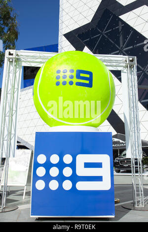 RAC Arena, Perth, Australia. 29th Dec, 2018. Hopman Cup Tennis, sponsored by Mastercard; Chanel 9 display at the Hopman Cup Credit: Action Plus Sports/Alamy Live News